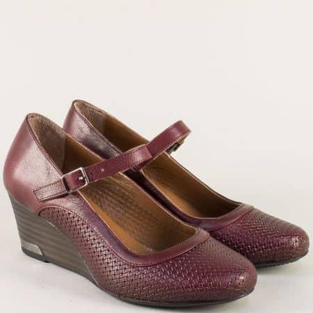 Дамски обувки от естествена кожа на клин ходило ma11bd