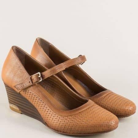 Кафяви дамски обувки от естествена кожа на клин ходило ma11k