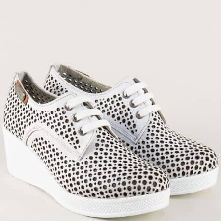 Перфорирани дамски обувки от бяла естествена кожа ma130b