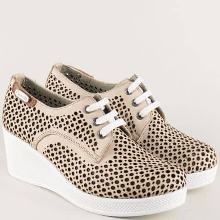 Бежови дамски обувки на клин ходило с кожена стелка ma130bj