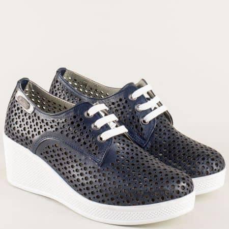 Сини дамски обувки с връзки и кожена стелка ma130bs