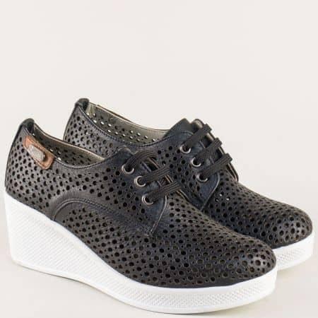 Анатомични дамски обувки в черен цвят с перфорация ma130ch
