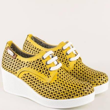 Жълти дамски обувки с перфорация от естествена кожа  ma130j
