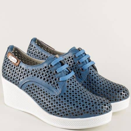 Сини дамски обувки от естествена кожа на клин ходило ma130s