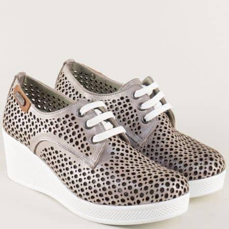 Бронзови дамски обувки с връзки и перфорация ma130sbrz
