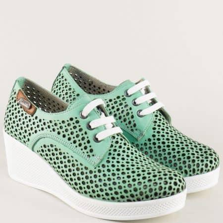 Зелени дамски обувки с връзки на бяло клин ходило ma130z