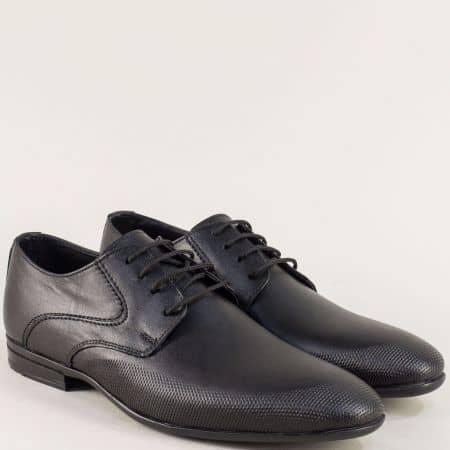 Кожени мъжки обувки с връзки в черен цвят ma135ch