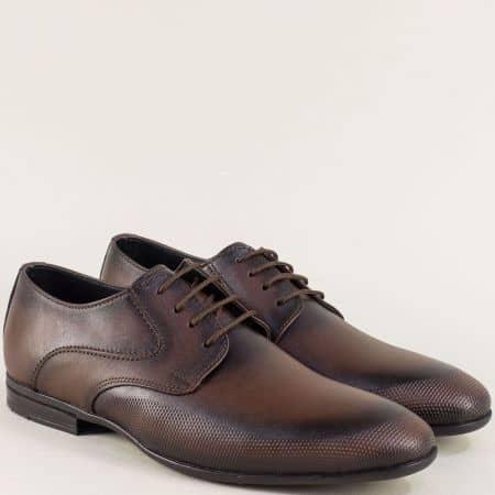Тъмно кафяви мъжки обувки с връзки от естествена кожа ma135kk