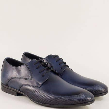 Мъжки обувки от естествена кожа в тъмно син цвят ma135s