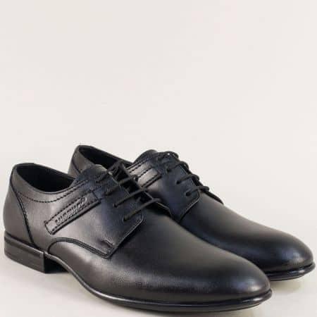 Мъжки обувки с връзки от естествена кожа в черен цвят ma138ch