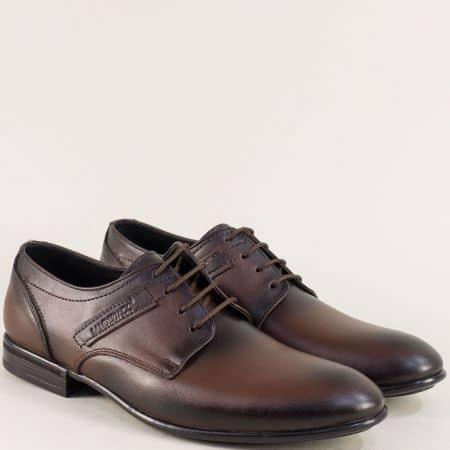 Кожени мъжки обувки с връзки в тъмно кафяво ma138kk