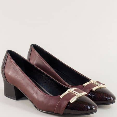 Дамски обувки в бордо от естествена кожа и лак на нисък ток ma13bd