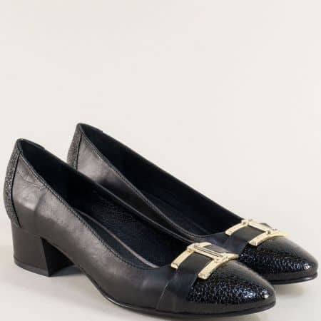 Елегантни дамски обувки на нисък ток от естествена кожа и лак ma13ch