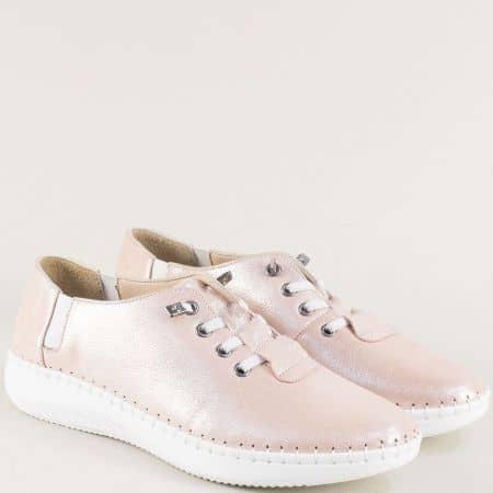 Розови дамски обувки с перлен блясък и ластични връзки ma1401srz