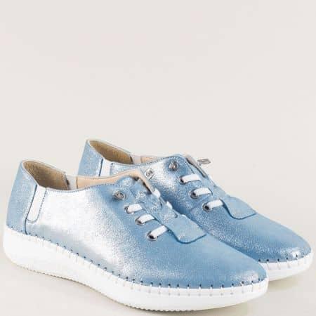 Сини дамски обувки с перлен блясък от естествена кожа ma1401ss