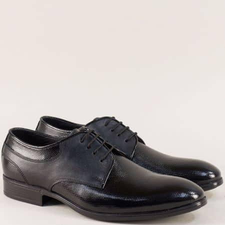 Черни мъжки обувки с връзки от естествен лак и кожа ma150chlch