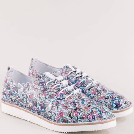 Кожени дамски обувки в циклама, розово, синьо и бежово ma156sps