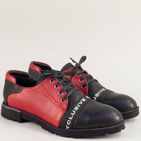 Дамски обувки на нисък ток в червено и черно ma115chchv