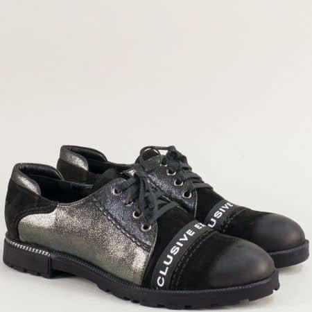 Дамски обувки от естествена кожа в бронз и черно ma115chps