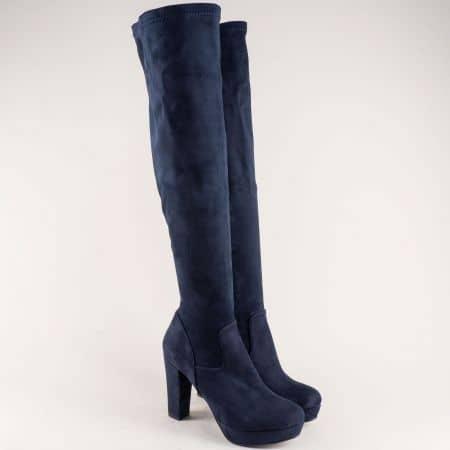 Сини дамски ботуши на комфортно ходило с висок ток ma160ns