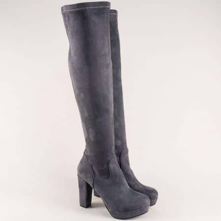 Дамски ботуши над коляното на висок ток в сив цвят ma160nsv