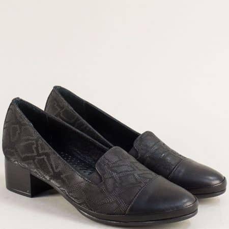 Кожени дамски обувки на нисък ток в черен цвят ma2008ch