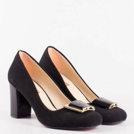 Стилни черни дамски обувки от висококачествен еко набук с елегантна лачена панделка ma201nch