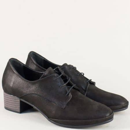 Черни дамски обувки от естествена кожа на нисък ток ma209ch