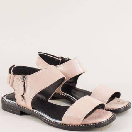 Розови дамски сандали с кожена стелка и велкро лента ma210srz