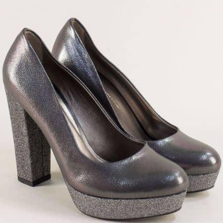 Бронзови дамски обувки на стабилен висок ток и платформа ma217brz