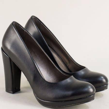 Дамски обувки на висок ток и платформа в черен цвят ma216ch