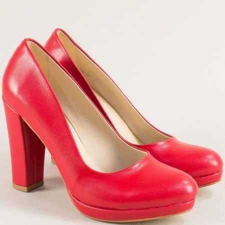 Червени дамски обувки на висок ток и платформа ma216chv
