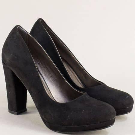 Дамски обувки на висок ток и платформа в черно ma216nch