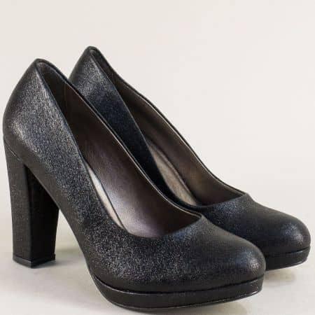 Черни дамски обувки на стабилен висок ток и платформа ma216sch