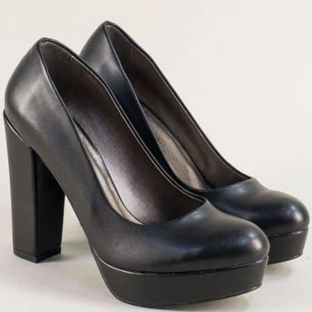 Черни дамски обувки на стабилен висок ток и платформа ma217ch