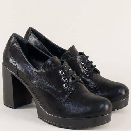 Кожени дамски обувки в черен цвят на масивен висок ток ma22ch