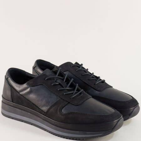 Спортни мъжки обувки в черен цвят с кожена стелка ma231ch