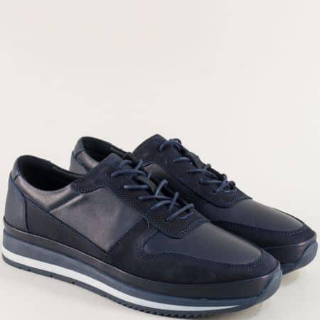 Сини мъжки обувки с връзки от естествен набук и кожа  ma231s