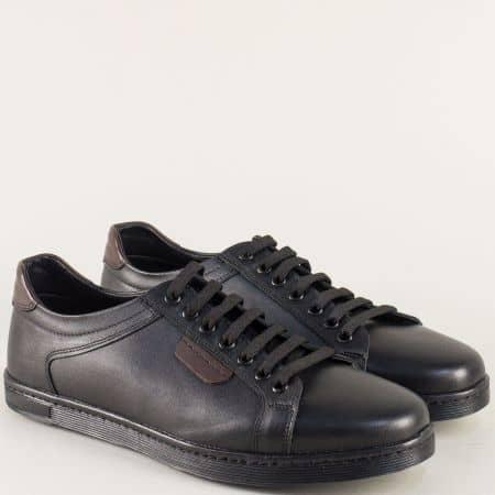 Мъжки обувки с връзки на равно ходило в черен цвят ma250ch