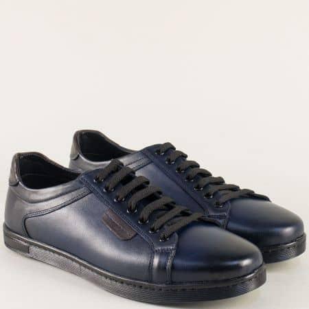 Кожени мъжки обувки в тъмно син цвят на шито ходило ma250s