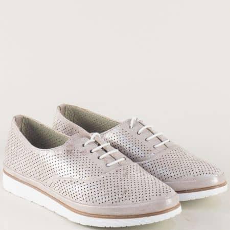 Кожени дамски обувки с перфорация и връзки в сребро ma267sr