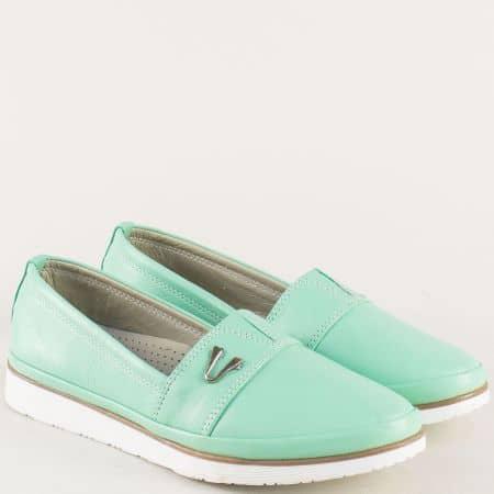 Светло зелени дамски обувки от естествена кожа  n268z