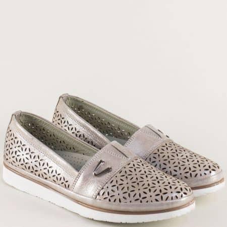 Ортопедични дамски обувки от естествена кожа в бронз ma270brz