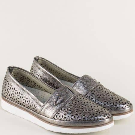 Дамски обувки с лазерна перфорация в цвят графит ma270sv