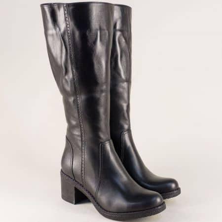Черни дамски ботуши на среден ток от естествена кожа  ma800ch