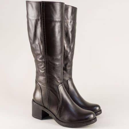 Тъмно кафяви дамски ботуши от естествена кожа на среден ток ma800kk