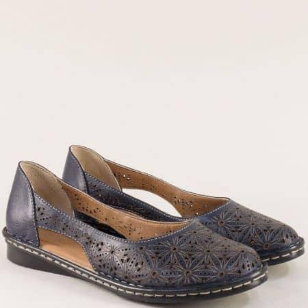 Тъмно сини дамски обувки с прорези и перфорация ma300ts