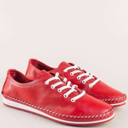Червени дамски обувки с връзки на равно ходило ma302chv