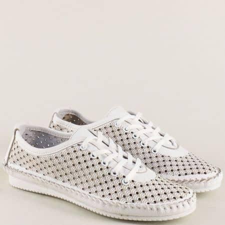 Бели дамски обувки с връзки и кожена стелка ma302db
