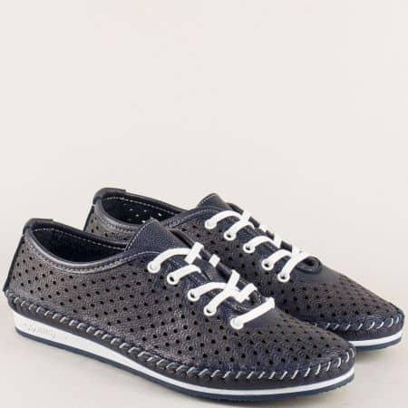 Равни дамски обувки с връзки и перфорация в син цвят ma302ds